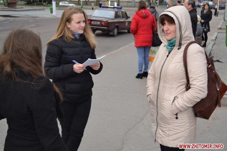 uyRicti 4 - У центрі Житомира перехожих частували цукерками за знання законодавства