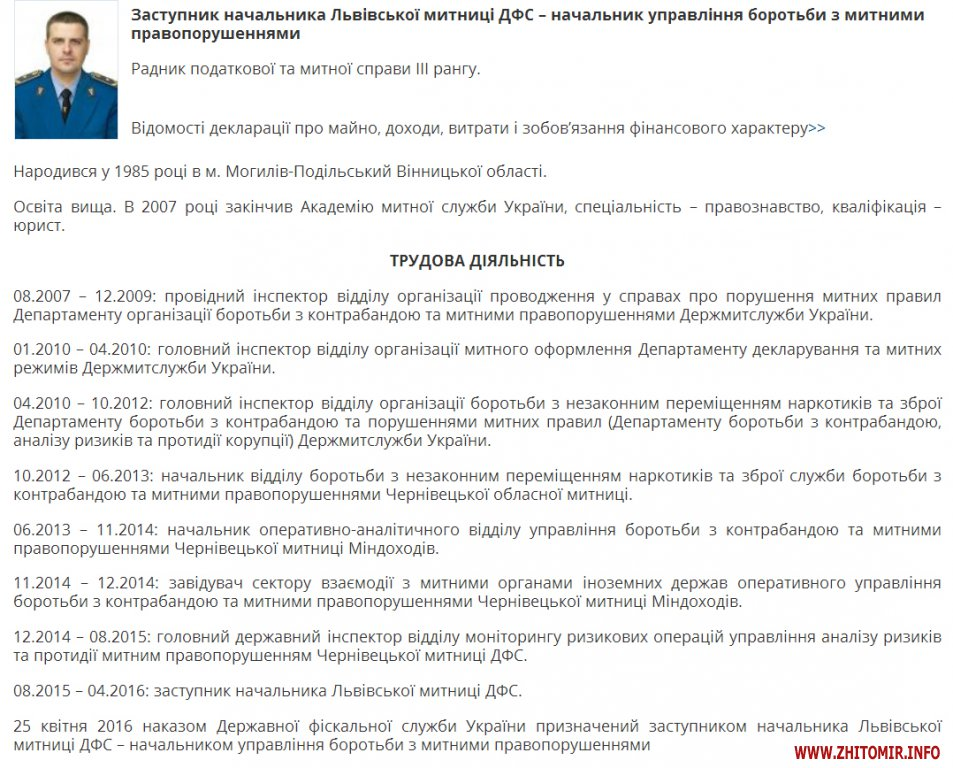 miroshnichenko mitnica1 - У начальника Житомирської митниці з'явився четвертий заступник – зі Львова