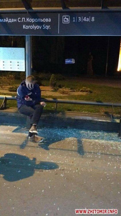 Koroleva zypinka 3 - Житомирські патрульні затримали п'яного чоловіка, який на майдані Корольова розбив скло на зупинці