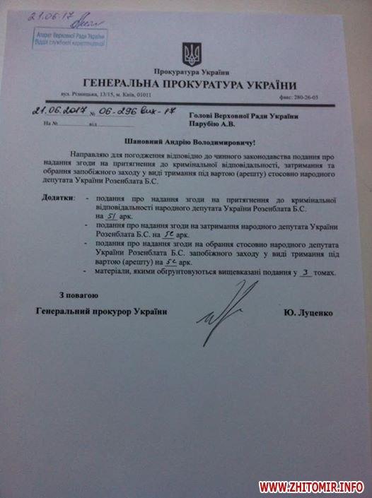 19420861 1529968243743361 2788505454427480396 n - Луценко вніс подання на арешт житомирського нардепа Розенблата, Парубій передав його в регламентний комітет ВР