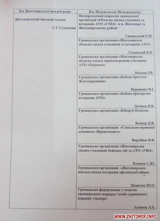 00memor gorod 1 - Влада Житомирської області теж хоче підписати меморандум з АТОшниками та ветеранами