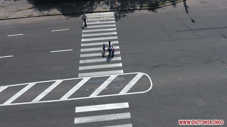 pogRu 3 - У Житомирі на місці майбутніх острівців безпеки нанесли розмітку, щоб підготувати пішоходів та водіїв