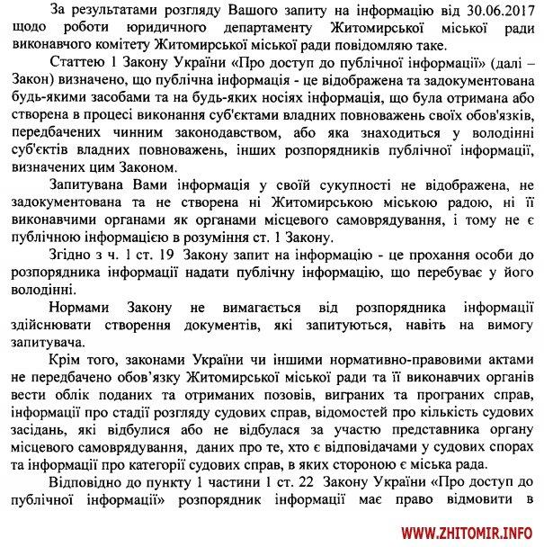 yrdep 1 - Юридичний департамент Житомирської міськради не рахує подані судові позови