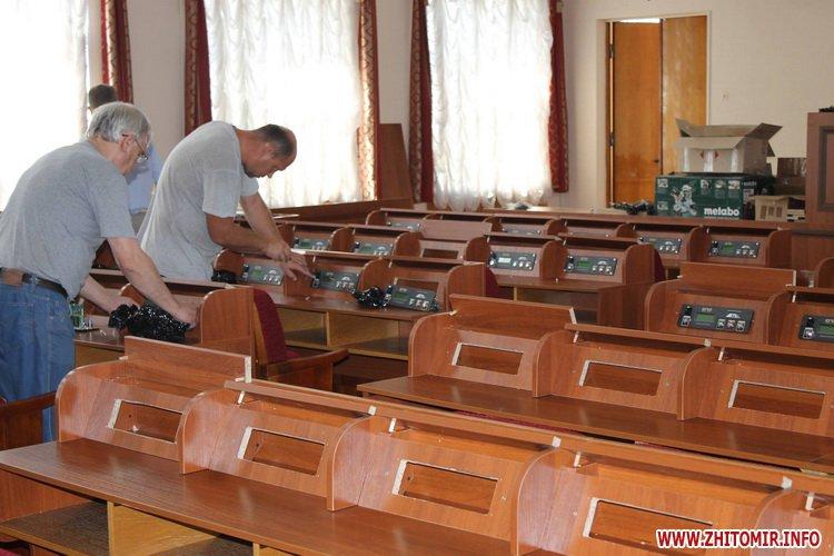 depytat rad - У сесійній залі Житомирської облради зменшили кількість рядів для депутатів та зробили прохід посередині