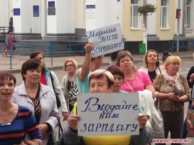 2109med zarplata 2 - Медпрацівники прийшли до Житомирської міськради вимагати зарплату