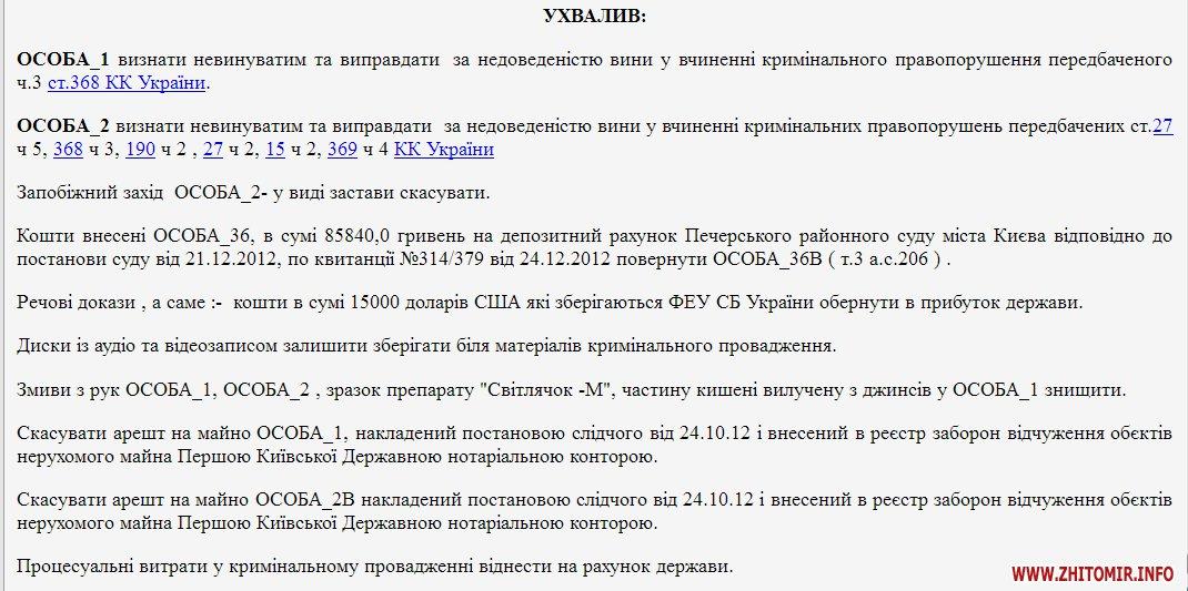 yhmala berd - Козятинський суд виправдав ще двох хабарників з Житомирської області, яких затримали в 2012 році