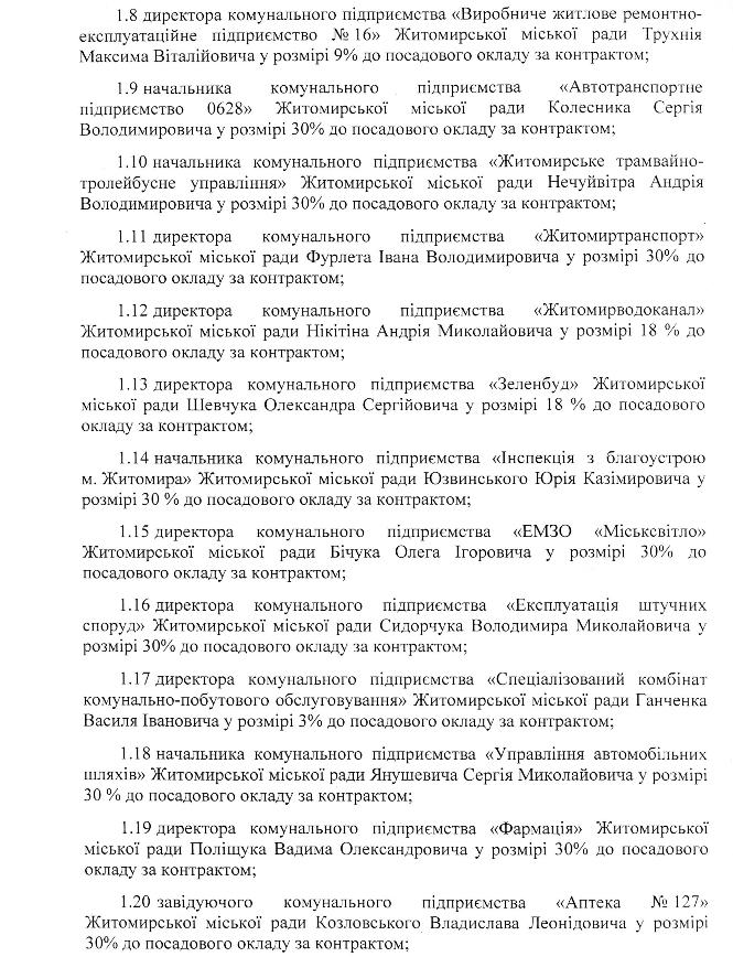 5b14ffe3c6b53 - Квартальні премії директорам комунальних підприємств Житомира: 11 отримають по 30% до посадового окладу
