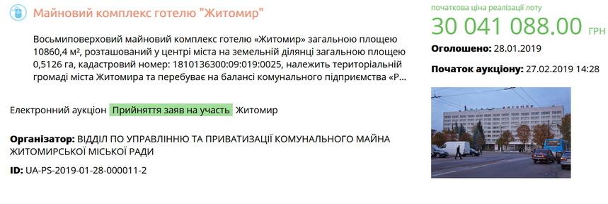 5c5003f38ff26 original w859 h569 - Аукціон з продажу готелю «Житомир» зі стартовою ціною 60 мільйонів гривень не відбувся