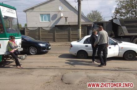 5fff391f9173fffe1a9019852bf1a6dd preview w440 h290 - На Корольова у Житомирі в автомобіля лопнуло колесо, але дорогу вже почали підсипати (доповнено)