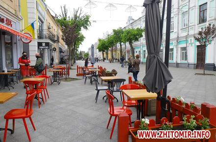 74d7b1cfc1e11f9b4987f93bd04252cb preview w440 h290 - Столики на двох, дистанція та антисептики: у Житомирі запрацювали літні майданчики кав'ярень, кафе та ресторанів. Фоторепортаж