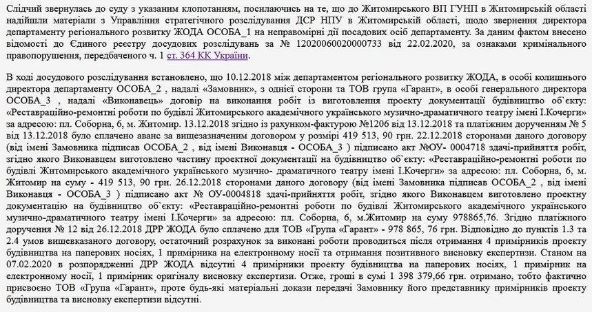 5ee1dbfc0c41c original w859 h569 - В департаменті Житомирської ОДА не знайшли проєкт реконструкції драмтеатру вартістю 1,4 млн грн й звернулися до поліції