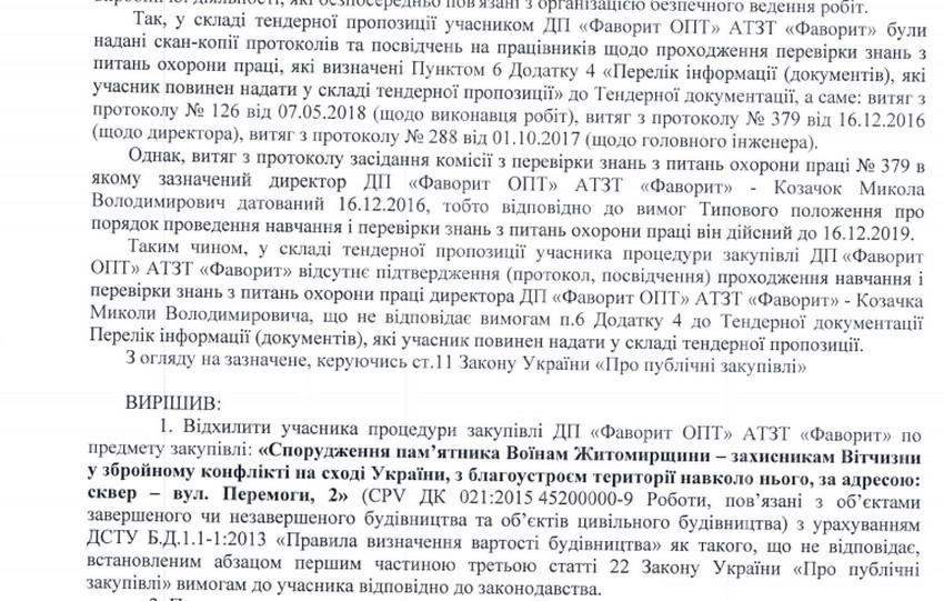 5f7eb7ece6bec original w859 h569 - На тендері зі спорудження пам'ятника АТОвцям у Житомирі відхилили найдешевшу пропозицію: директор не пройшов перевірку з охорони праці