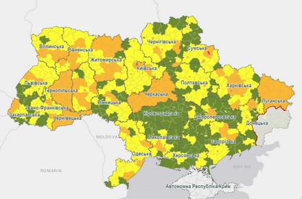 3b608f3815b1fa97622107c7c9d687ad preview w440 h290 - В області до помаранчевої зони потрапили 12 районів та чотири міста, в тому числі і Житомир