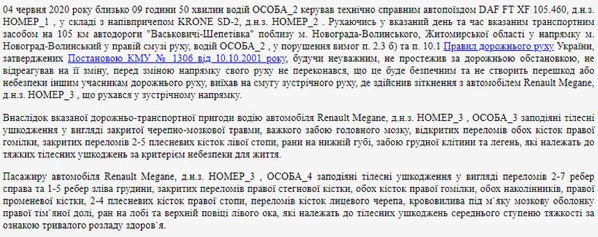 61407f0e1f9fa original w859 h569 - Суд виніс вирок водієві фури, яка поблизу Новограда-Волинського на зустрічній смузі протаранила легковий Renault: 4 роки позбавлення волі