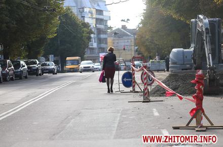 38da06f5854845d8514d5f3125922515 preview w440 h290 - Проїжджою частиною замість тротуарів: як житомиряни оминають «розкопки» на Театральній. Фоторепортаж