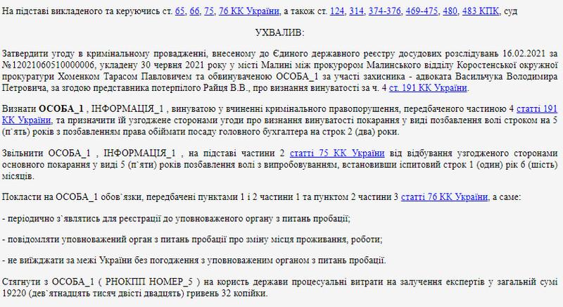 6156e47230305 original w859 h569 - У Житомирській області бухгалтерка центру ПМСД за рік нарахувала собі понад 450 тис. грн зайвої зарплати: суд виніс вирок