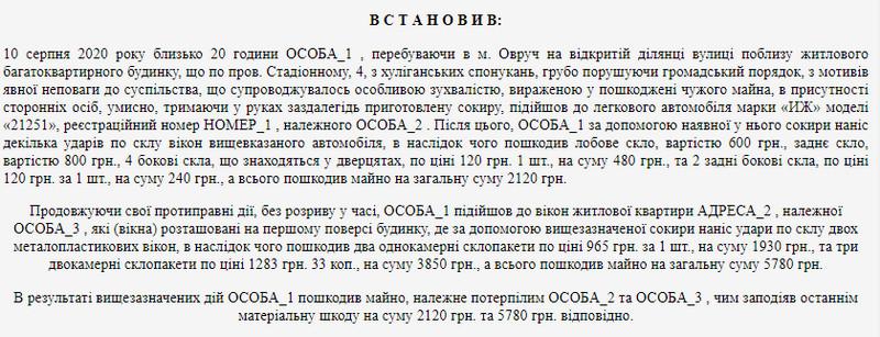 615c307706b5d original w859 h569 - У місті Житомирської області чоловік сокирою побив автомобіль та вікна в чужій квартирі і отримав 3 роки позбавлення волі