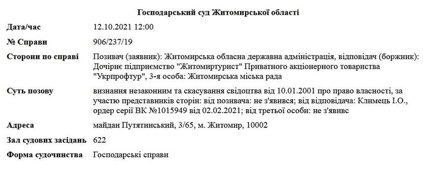 615d747cbc670 original w859 h569 - Житомирський виконком скасував право власності на базу «Лісовий берег», за яку судиться ОДА